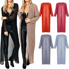 Ladies Maxi Chiffon Sheer Long Sleeve Kimono Jacket Open Full Length Waterfall