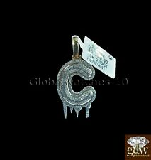 "Real 10k Gold Alphabet ""C"" in Bubble Letter Design Charm/Pendant, Real Diamonds."