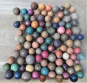 100 x Vintage Antique BENNINGTON CLAY STONE MARBLES Various sizes colours