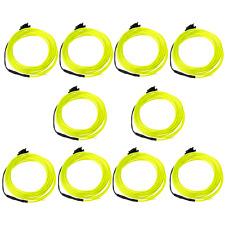 Hot 10pcs 3M Flexible Neon Light EL Wire with Controller Transparent Lemon B9W9