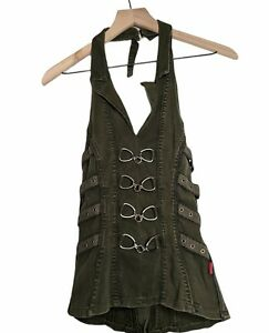 Tripp NYC Women's Olive Army Green Halter Top Buckle Corset Y2K Goth Size Small