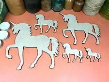 WOODEN UNICORN SHAPES SET MDF 20cm to 5cm (x5) fairytale wood shape craft gift
