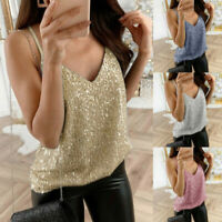 Womens Glitter Strappy Tank Tops Ladies Sexy Sparkle Cami Swing Vest Clubwear