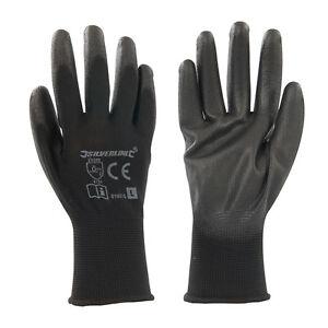 Polyurethane Palm Work Gloves PU-coated EN388 Cat II-rated Black Large