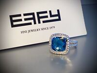 NWT EFFY STERLING SILVER SQUARE BLUE TOPAZ RING - Size 7