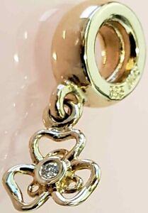 PANDORA   14K GOLD DIAMOND POSEY DANGLE CHARM ✪NEW✪ 750415D RETIRED RARE 585 ALE