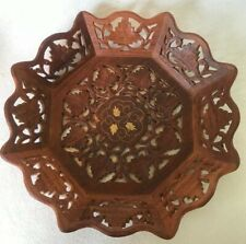 "Vintage 12"" Hand-Carved Teak Wood Made In India Decorative Platter Plate"