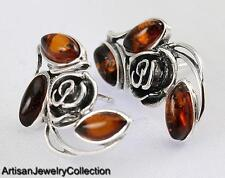 BALTIC AMBER EARRINGS 925 STERLING SILVER ARTISAN JEWELRY COLLECTION S045