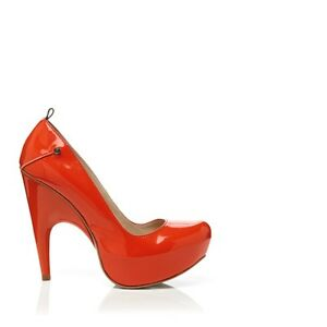 NIB CNC Costume National platform pumps heels patent leather shoes ORANGE 6