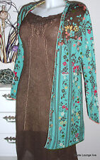 Ivko Knitted Dress Solid Structure Linen Dress M 38 Sepia Canvas Green Braun