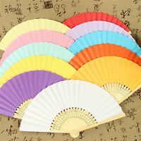 Hand Held Fan Bamboo Folding Paper Fan Wedding Party Home Decor 1-50pcs Colorful