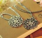 Occident Fashion Hollow Out Flower With Clear Crystal Long Chain Necklace
