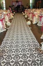 100 ft Flocking Damask Taffeta Wedding Aisle Runner Black White Flocked Fabric