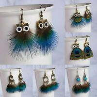 New Design Owl Peacock Feather Hook Drop Dangle Earring Statement Jewelry  Party