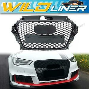 Gloss Black Honeycomb RS3 Style Front Grille Grill for AUDI A3 8V S3 2013-2016