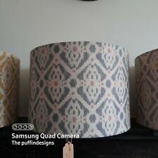 NEW HANDMADE LAMPSHADE - French Petite Ikat Linen Blue Grey & Pink dot  LARGE