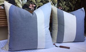 "MISSONI Home 2 PILLOWS Size: 24 x 24"" New SHIP FREE Gray / Yellow / Blue / Pink"