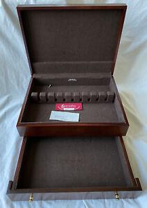 Dark Two Level Tarnish Proof Flatware Silverware Storage Wooden Chest Box 44