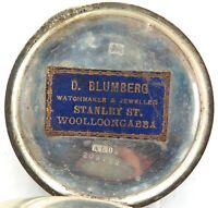 .RARE WOOLLOONGABBA, QLD. D BLUMBERG, JEWELLER STERLING SILVER POCKET WATCH CASE
