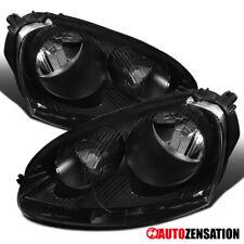 For VW 2005-2010 Jetta 2006-2009 Golf Rabbit Black Clear Headlights Lamps Pair