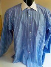 EAGLE Shirtmakers Striped LS Shirt French Cuffs White Collar SZ 16 1/2 34-35