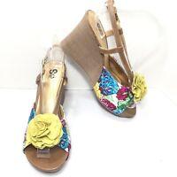 Women's So  Floral Rosette Peep Toe Wedges Pumps Size 7.5 M