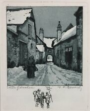J.F.BENESCH (1875-1954) - ALTES GÄSSCHEN - Rad/Pap.sign.dat.1922