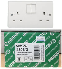5 x Crabtree Capital 4306/D Double Pole Twin Double Switched Socket White 4306