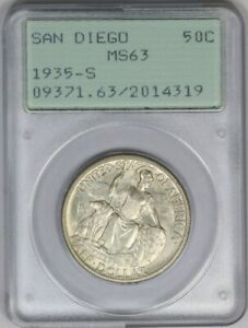1935-s PCGS 50C San Diego Silver Half Dollar Commemorative MS63 Rattler Slab
