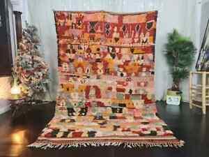 "-VINTAGE RUG- Moroccan  Handmade Rug 5'6"" x 8'8"" Berber Abstract Red orange Rug"