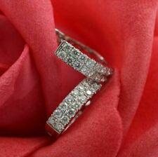 1.50Ct Round Cut VVS1/D Diamond Huggie Hoop Earrings 14K White Gold Finish