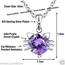 925 Silver Cat Whiskers Amethyst Crystal Necklace Xmas Gifts For Her Wife Women