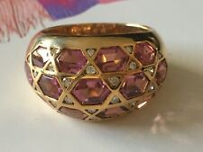 Stunning Cocktail 18k Gold pink topaz Ring