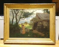 Huge 19th Century Newlyn School Mother & Child Landscape Coast Stanhope Forbes