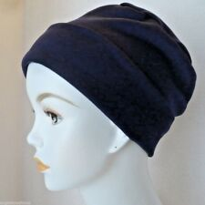 Navy Springtime Cuffed Chemo Cancer Hair Loss Hat Turban Sleep Cap
