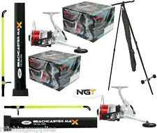 SEA FISHING SET - 2 X BEACHCASTER RODS 12FT 2 PIECE + 2 X SEA REELS + 1 X TRIPOD