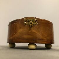 Vintage Wood Trinket Box Hand Painted Footed Jewelry Carved Floral Lining Rose