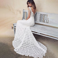Womens V Neck Backless Mermaid Maxi Lace Formal Dress Party Evening Wedding Gown