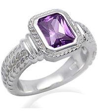 Cubic Zirconia Purple Baguette Sterling Silver Ring size K