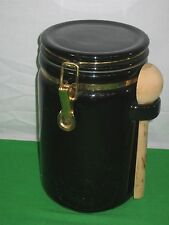 Black Ceramic Canister Locking Lid with Wood Spoon Measurer