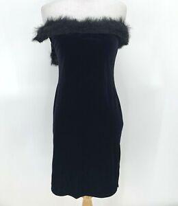 Vintage Guess Velvet Dress Size S Faux Fur Off Shoulder Strapless Black Fitted