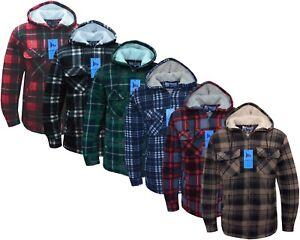Hooded Fleece Padded Lumberjack Shirt Jacket Fur Lined Sherpa Winter Warm M-5XL