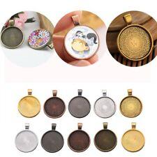 10x 25mm Necklace Pendant Cameo Cabochon Blank Bezel Tray Base Setting DIY Craft