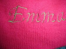 One Size Hot Pink Hat With The Name Emma On It