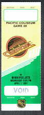 Vancouver Canucks vs Winnipeg Jets April 1 1981 Void/Unissued Ticket Stub