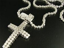 1 Row Men's Rosary Chain with Cross in Natural Diamond White Gold Finish 34""