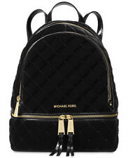 NWT MICHAEL Michael Kors Rhea Medium Black Velvet & Leather Backpack $358