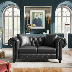 """63"""" Deep Button Tufted Upholstered Loveseat Sofa Classic Chesterfield Sofa Set"""