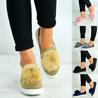 Womens Pom Pom Trainers Ladies Slip On Flat Sneakers Plimsolls Shoes Size Uk 3-8