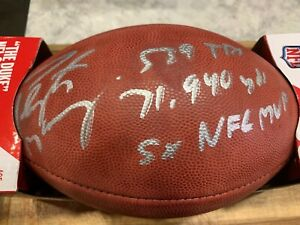 Peyton Manning Auto Signed Duke Pro Football with Multiple Career Stats FANATICS